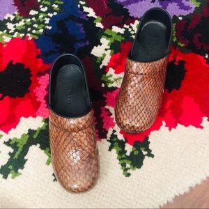 Sanita Brown Snakeskin Embossed Clogs